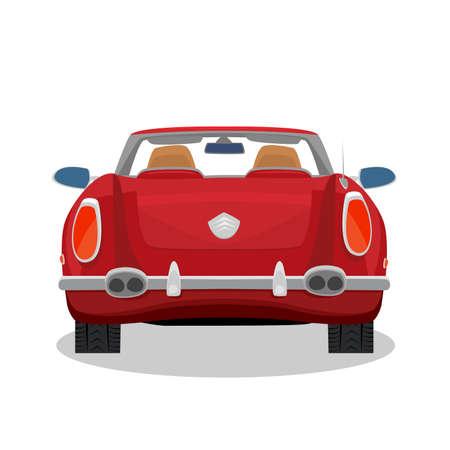 Geïsoleerde rode auto, retro cabriolet op witte achtergrond met schaduw. Achterste achteraanzicht. Simplistische realistische komische kunststijl Vector Illustratie