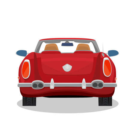 Isolated red car, retro cabriolet on white background with shadow. Rear back view. Simplistic realistic comic art style Illustration