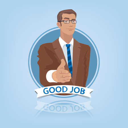 Young businessman or manager, stretches out his hand to say Hello. Front face view in round frame. Congratulation or introduction concept. Simplistic realistic style