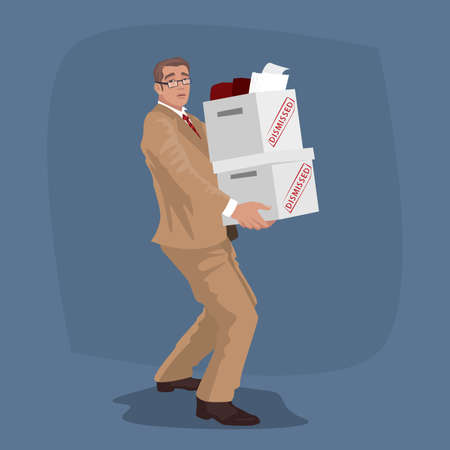 Isolated unhappy worker carry boxes of things with personal belongings. Business man dismissed or employee fired from job concept. Illustration
