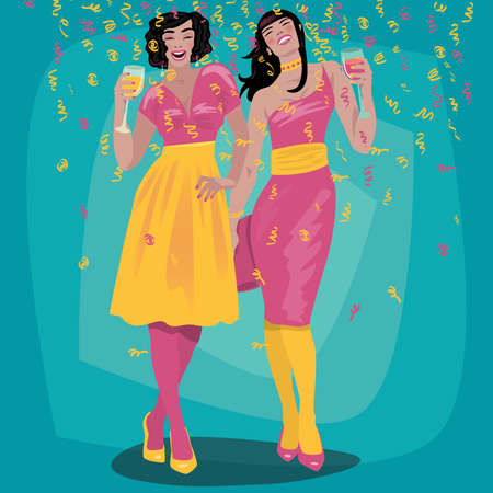 Couple of attractive young girls in bright dresses welcome and raise their glasses. Beautiful woman toasting. Invitation concept. Simplistic realistic cartoon art style