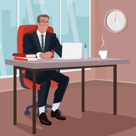 Angry businessman sitting on red armchair in office. Disgruntled man in business suit in workplace. Trouble or Problem concept. Simplistic realistic cartoon style