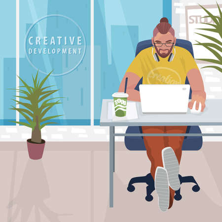 Young fashionable designer or hipster manager sitting at table and working on white laptop. Interior of modern office with large windows. Simplistic realistic style Illustration