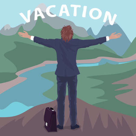 Happy hired employee in suit standing on hill in front of cliff with open arms outstretched. Back view. Lettering Vacation. Simplistic realistic comic art style Illustration
