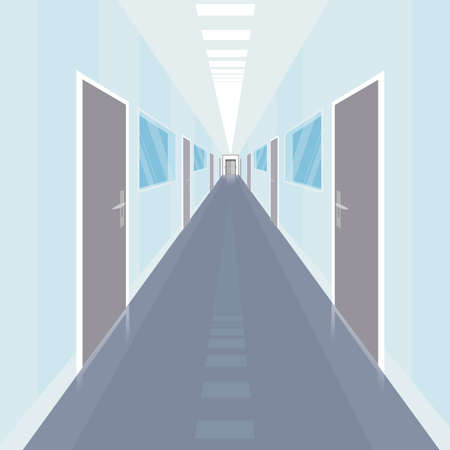 Interior of long and narrow corridor with a lot of doors, in modern office. Front view. Simplistic realistic comic art style.