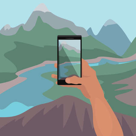 Hand of travel man making photo of landscape on smartphone from edge of cliff. Photographing mountain river in picturesque place. Simplified realistic comic art style Ilustração