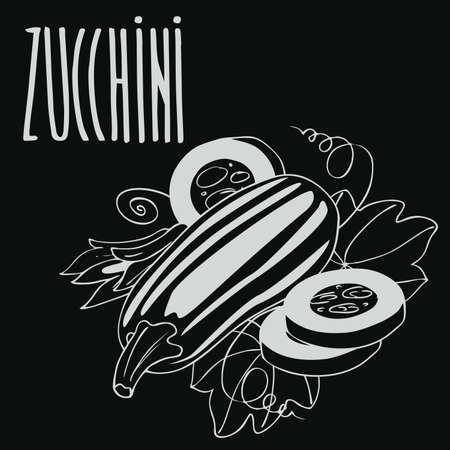 Isolate courgette or zucchini as chalk on blackboard. Zdjęcie Seryjne - 98268834