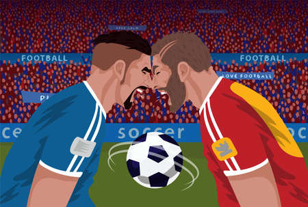Two angry football opponents vector illustration.