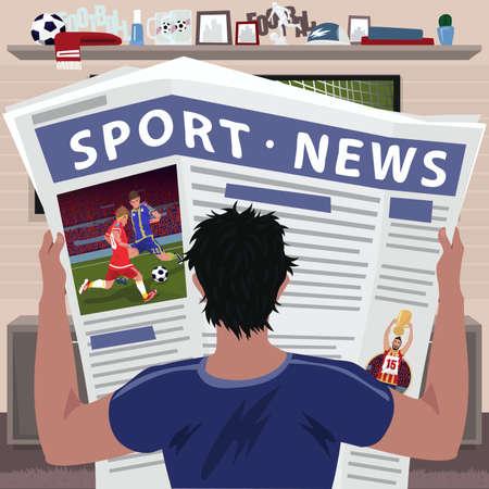 Soccer fan reading sports news vector illustration.  イラスト・ベクター素材