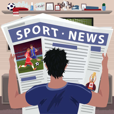 Soccer fan reading sports news vector illustration. 일러스트