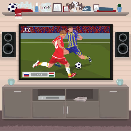 Viewing soccer game at home on TV