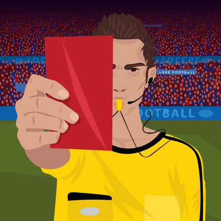 Referee whistling holding red card  イラスト・ベクター素材