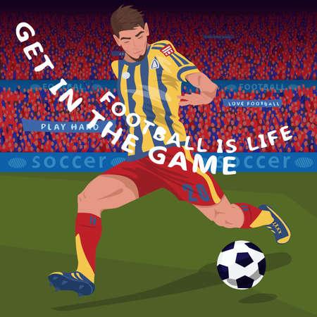Close up running football player Иллюстрация