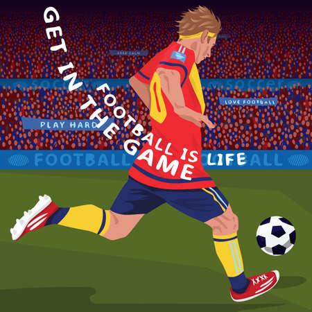 Running football player in stadium