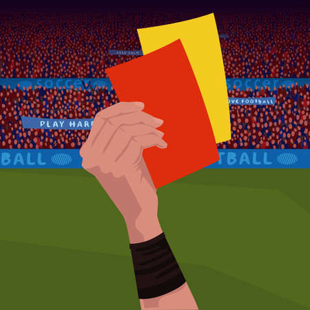 Referee holding red and yellow card Standard-Bild - 102480297