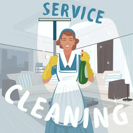 Cleaning woman washing window Illustration