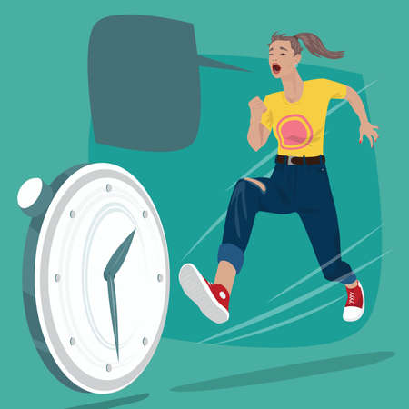 Full body of girl running and screams. Pursuit of time or chasing of rolling clock. Expressive cartoon style Illustration
