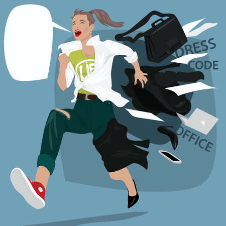 Girl running and screams, changing clothes on the go from office suit to casual clothes. End of the working day concept. Expressive cartoon style Illustration