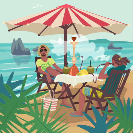 Men smoking hookah on tropical beach
