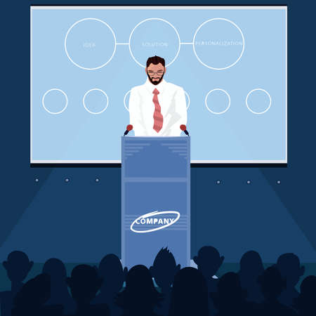 Man reads news for audience Illustration