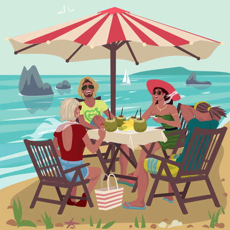 Two couples eating on tropical beach Illustration