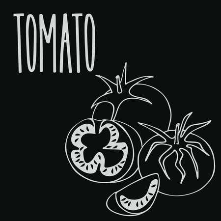 Chalkboard ripe tomato vegetable