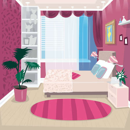 Empty pink children room for girl Standard-Bild - 103756393