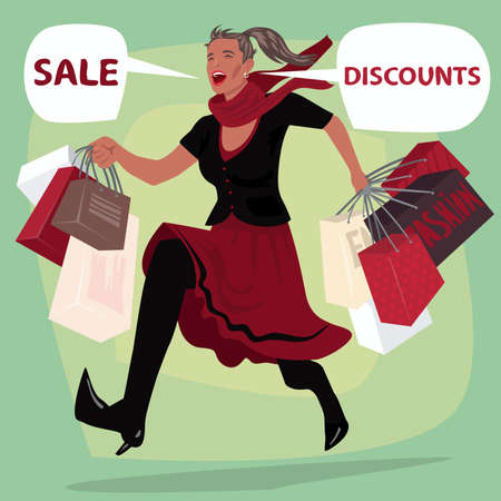 Full body of fashionable girl running with purchases packages and screams SALE and DISCOUNTS. Young woman is in hurry to shopping. Expressive cartoon style