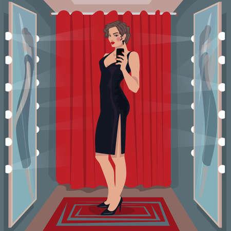 Selfie black dress in fitting room