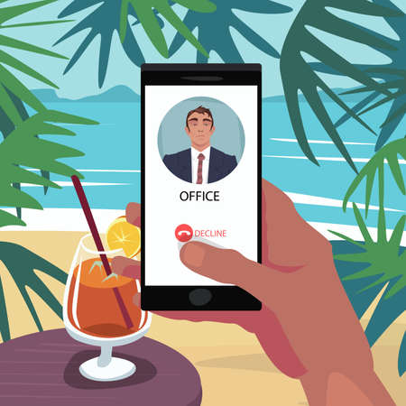 Finger on Decline button on smartphone. Reject incoming call from boss. First person view. Vacation at sea. Ignore the work. Expressive cartoon style