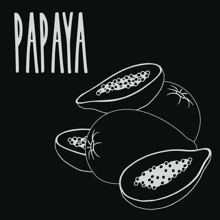 Chalkboard papaya fruit