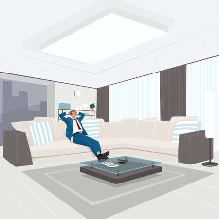 Satisfied young businessman in blue suit resting on couch in large bright living room. Weekend or Vacation at home concept. Expressive cartoon style