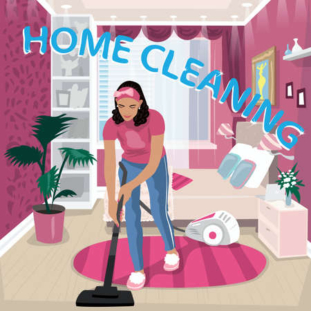 Nanny vacuums children room Иллюстрация