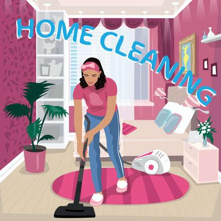 Nanny vacuums children room Illustration