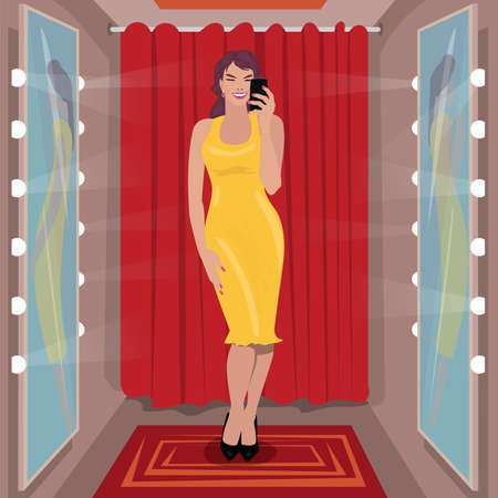 Selfie yellow dress in fitting room  イラスト・ベクター素材