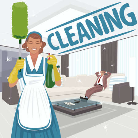Cleaning woman stands in big clean live room and holding sprayer and dust brush or pom pom duster. Satisfied man on sofa. Cleaning lettering. Expressive cartoon style