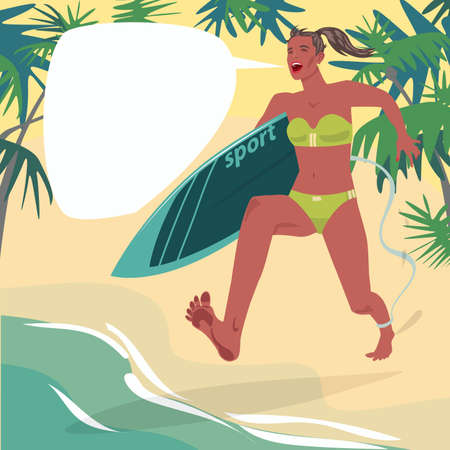 Full body of girl in swimsuit running on beach with surfboard and screams. Young woman is in hurry from sand to ocean. Surfing sport. Expressive cartoon style Illustration