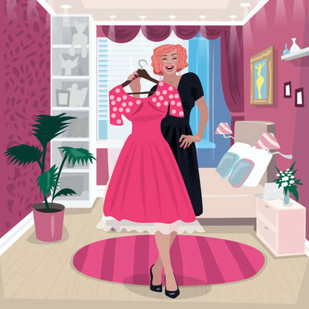 Girl in trying on pink dress  イラスト・ベクター素材