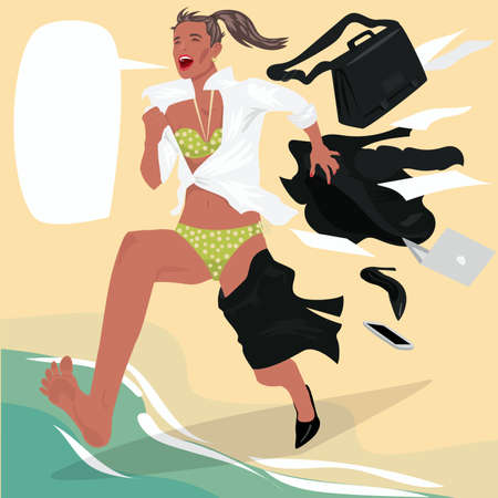 Girl running on beach and screams, changing clothes on the go from office suit to swimsuit. Beginning of holiday or Start of vacation concept. Expressive cartoon style
