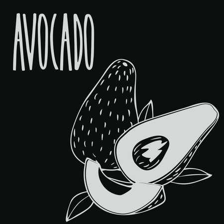 Chalkboard ripe avocado fruit