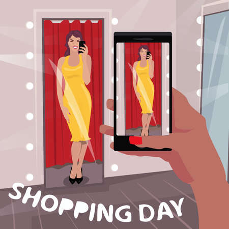 First person view of girl in long yellow dress in fitting room, take selfie photo on smartphone. Shopping day inscription. Expressive cartoon style Illustration