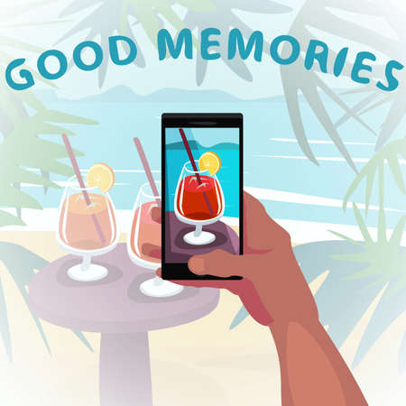 Hand holds smartphone and show beach photo with cocktail from vacation. Remember about travel concept. First person view. Good memories inscription. Cartoon style