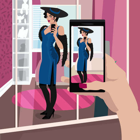 First person view of woman is defiantly dressed in evening dress in dressing room, take selfie photo on smartphone. Expressive cartoon style Illustration