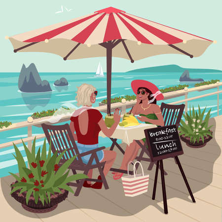 Two beautiful girls sitting in cafe near tropical ocean and eating fresh fruits. Girlfriends meeting in vacation. Good sunny weather. Expressive cartoon style