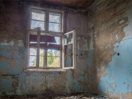 dilapidated: Empty dilapidated room in an abandoned building - hdr Stock Photo