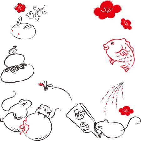 Mouse Zodiac Child-year Hand-drawn New Years card material Hagoita Yuhana, Kodama Ume no Hana Kagami-an Yuki Usagi-an Ilustração