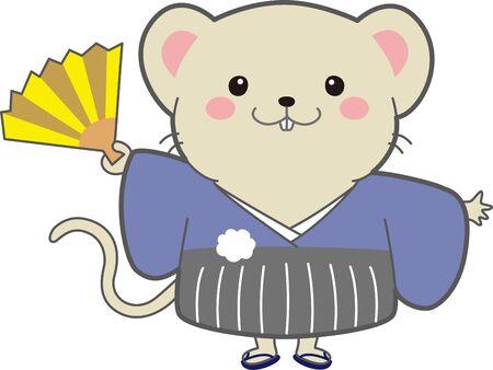 Illustration of a mouse wearing a kimono