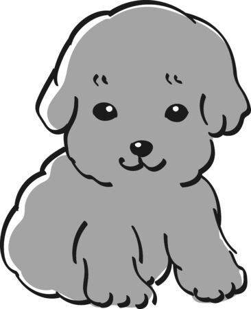 Cute black and white illustration of toy poodle