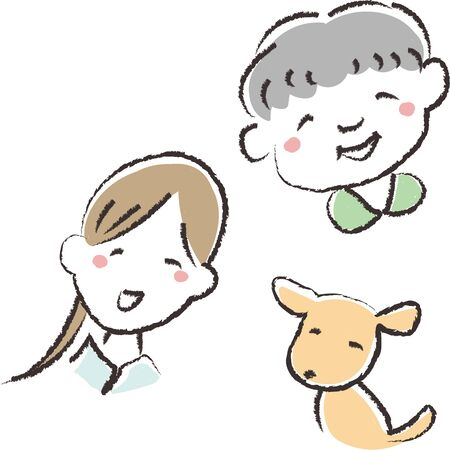 Hand Drawn Illustration of Grandma, Woman and Dog