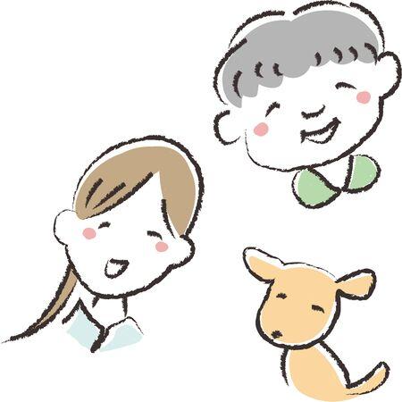 Hand Drawn Illustration of Grandma, Woman and Dog